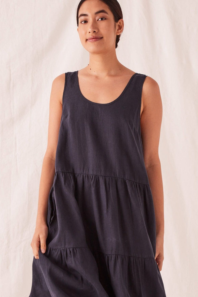 ASSEMBLY Tiered Linen Dress True Navy Front