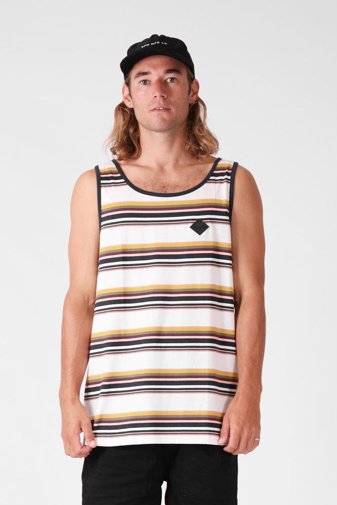 RPM Stripe Singlet Multi Stripe Front