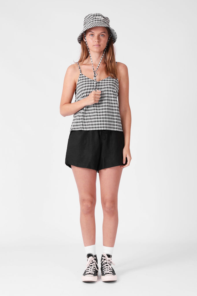 RPM Maddy Singlet Black Gingham Front