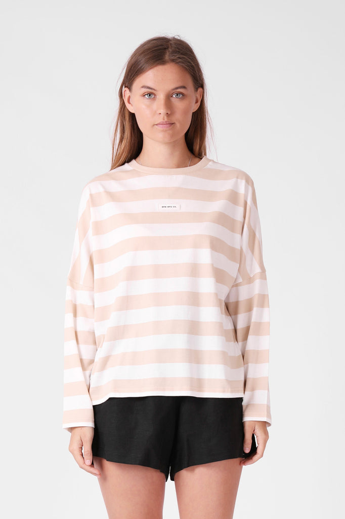 RPM Madi Longsleeve Tee Beige White Front