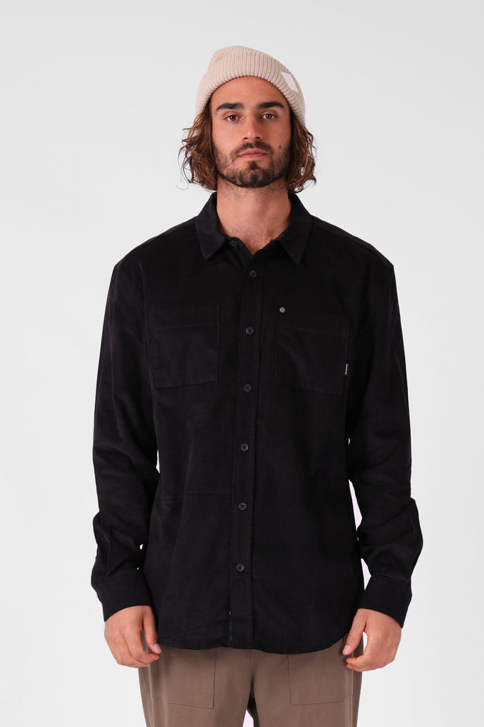 RPM Cord Ls Shirt Black Front