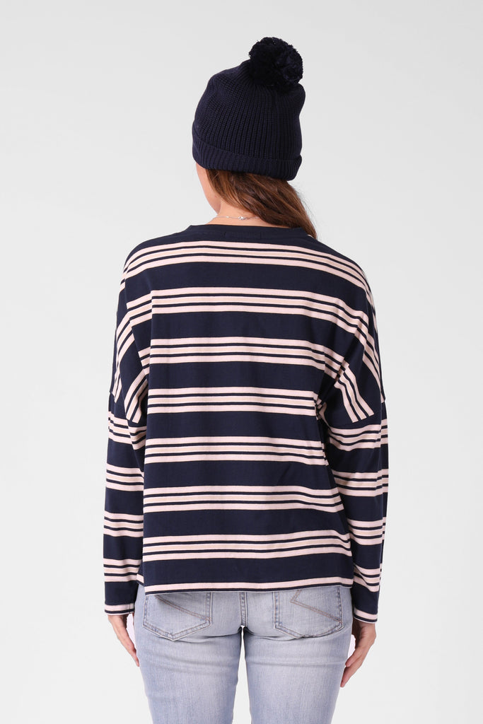 RPM Madi Ls Tee Navy Pink Back
