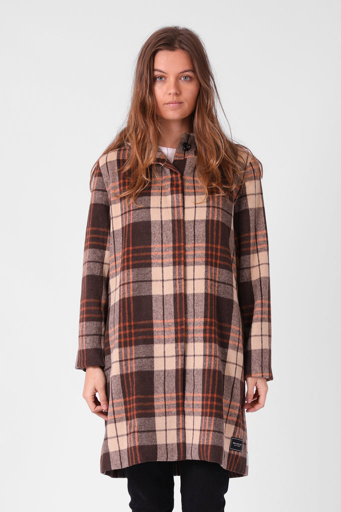 RPM Milford Overcoat Brown Plaid Front