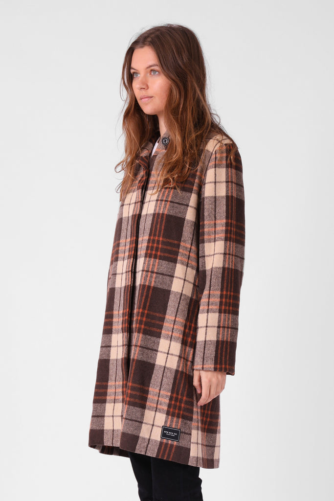 RPM Milford Overcoat Brown Plaid 3/4