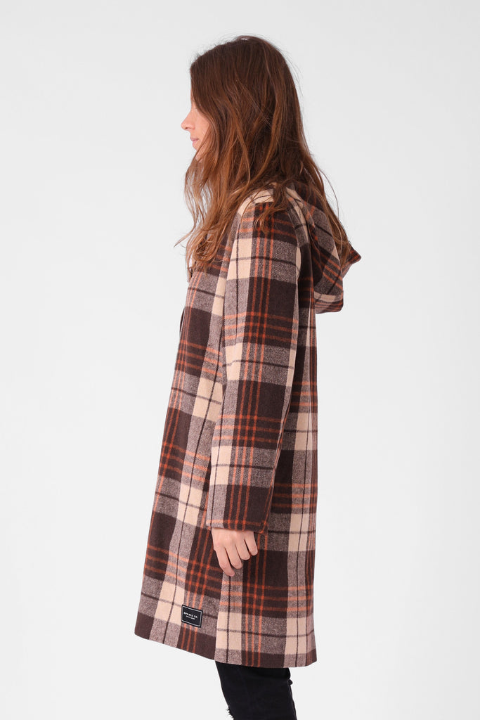 RPM Milford Overcoat Brown Plaid Side
