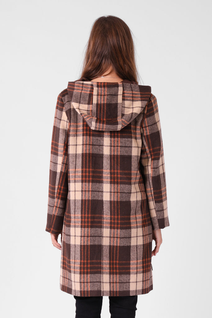 RPM Milford Overcoat Brown Plaid Back