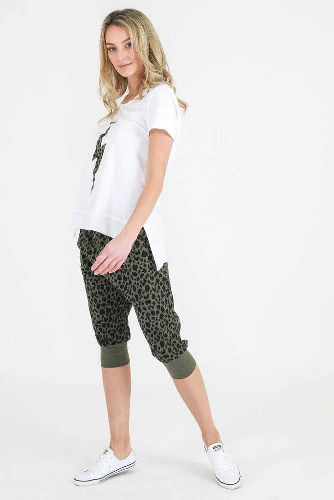SAT AND SUN Leopard Lightening Tee White Side Angle