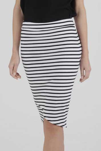BETTY BASICS Siri Skirt White Black Stripe Front Close Up