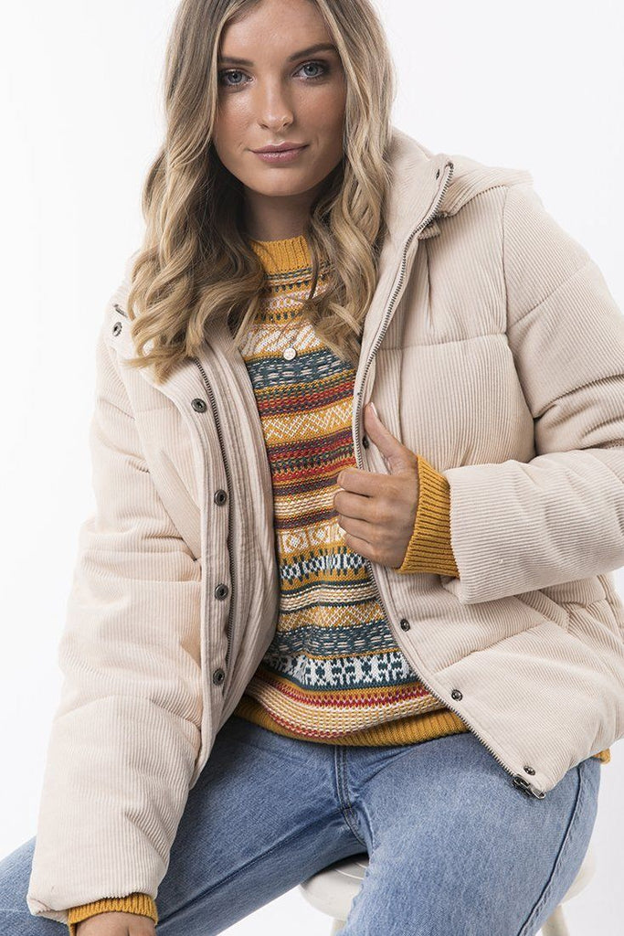 ALL ABOUT EVE Cali Cord Puffer Vintage White Front