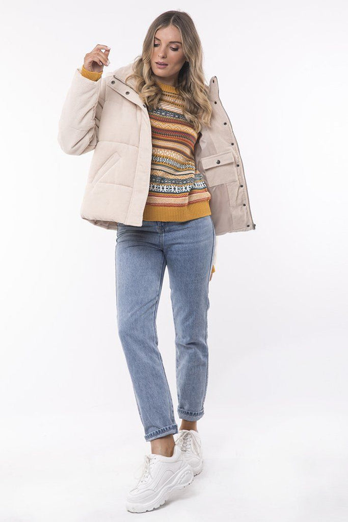 ALL ABOUT EVE Cali Cord Puffer Vintage White Front Full