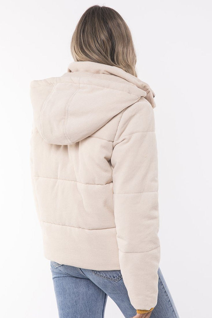ALL ABOUT EVE Cali Cord Puffer Vintage White Back