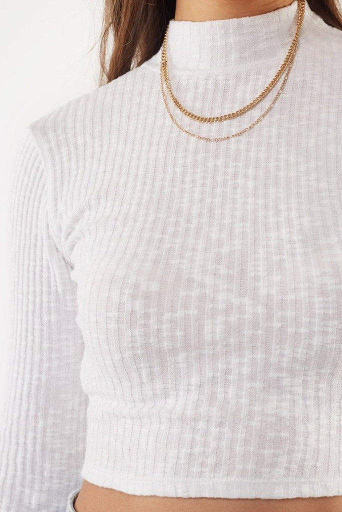 ALL ABOUT EVE Drew Long Sleeve Top White Close Up