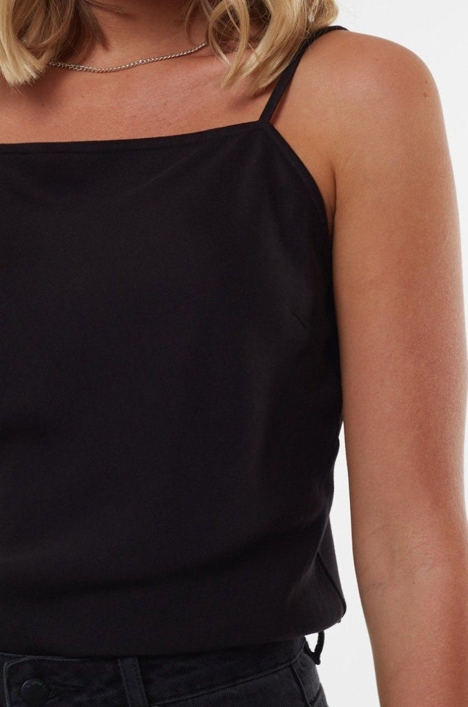ALL ABOUT EVE Billie Straight Neck Top Black Close Up Details