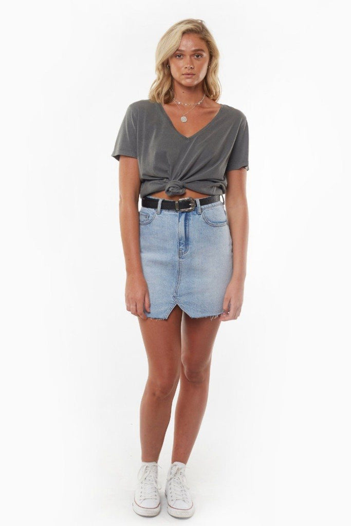 ALL ABOUT EVE V Neck Tie Crop Tee Charcoal Front Full