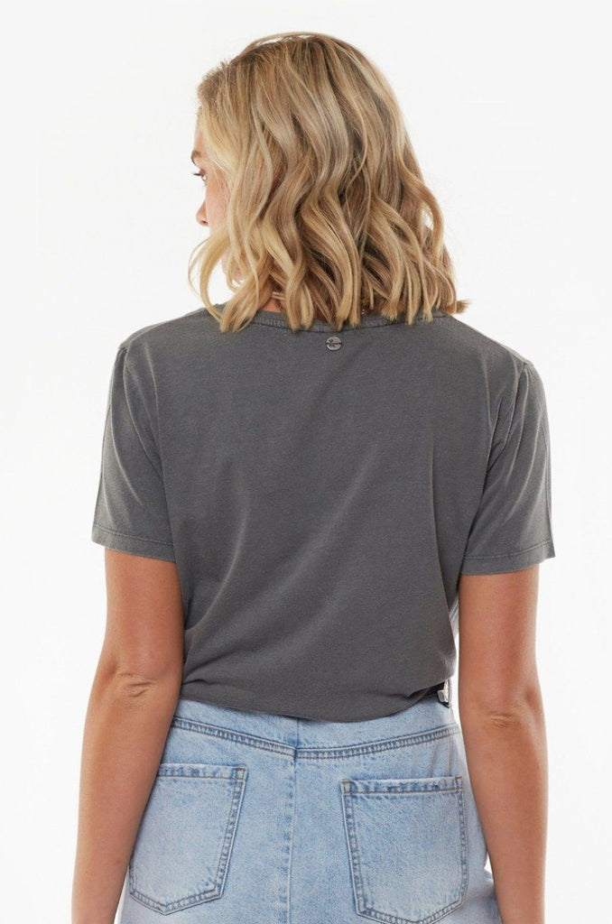 ALL ABOUT EVE V Neck Tie Crop Tee Charcoal Back
