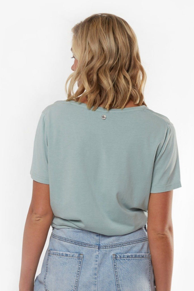 ALL ABOUT EVE V Neck Tie Crop Tee Light Blue Back