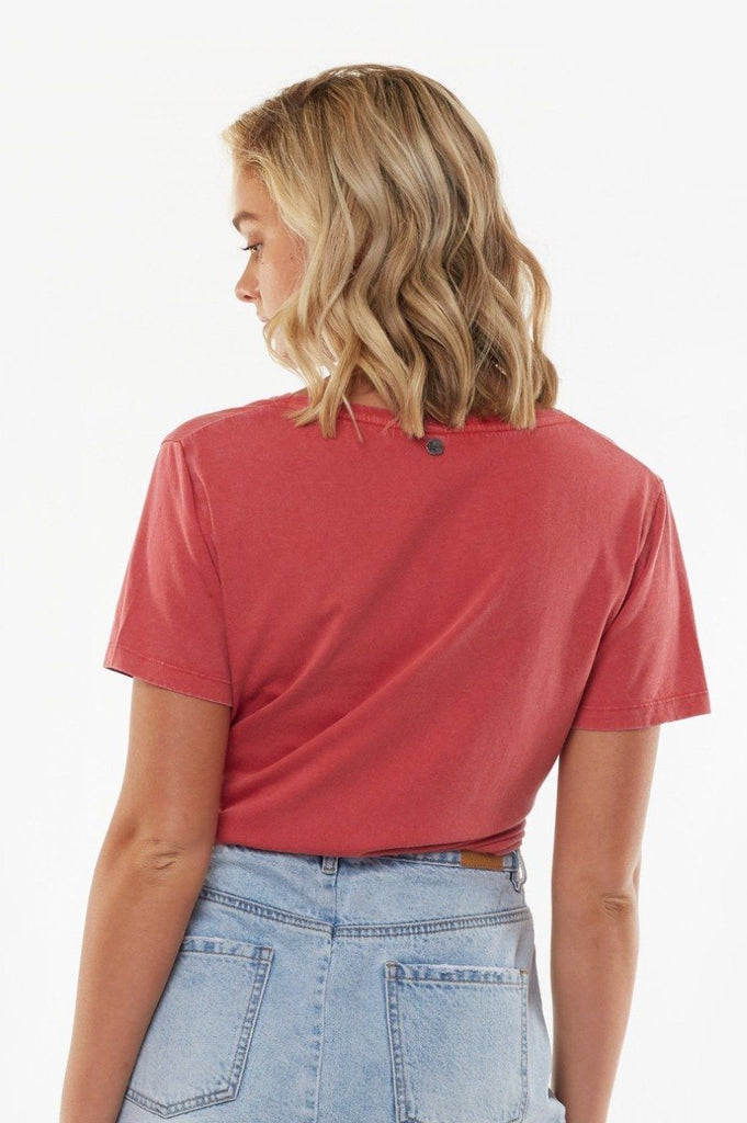 ALL ABOUT EVE V Neck Tie Crop Tee Red Back