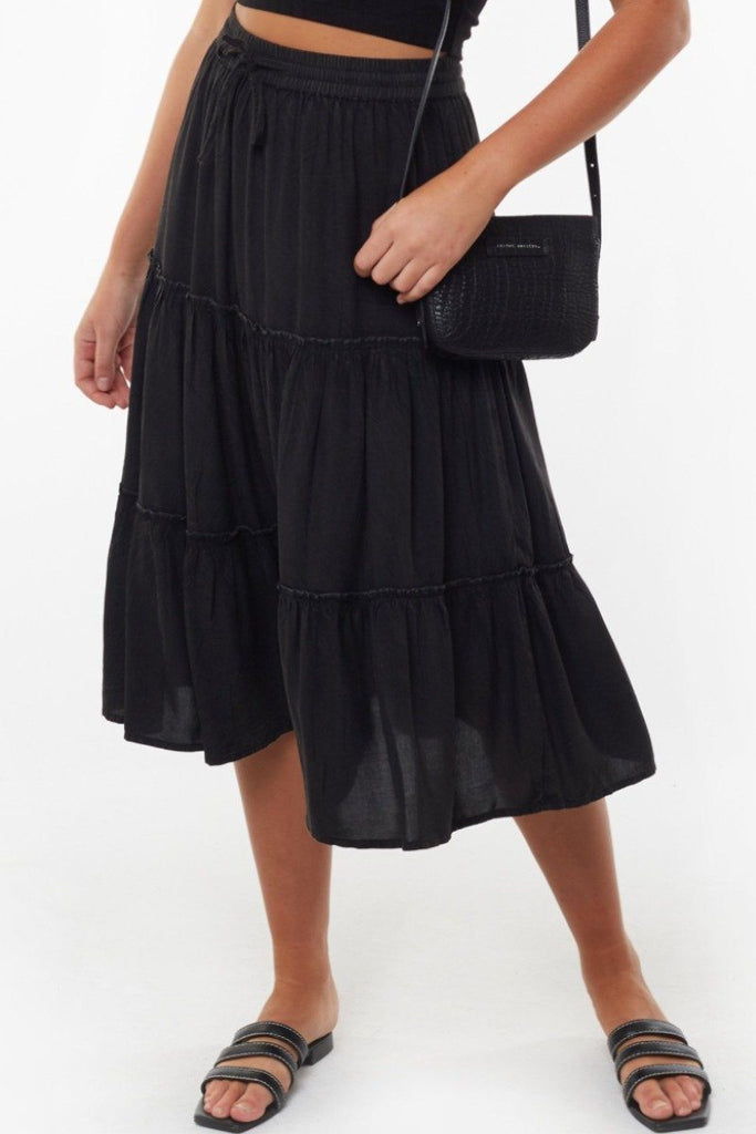 ALL ABOUT EVE Claudia Midi Tiered Skirt Black Front
