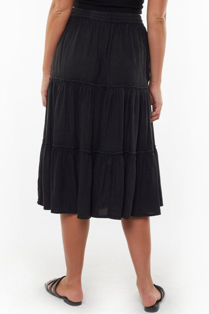 ALL ABOUT EVE Claudia Midi Tiered Skirt Black Back