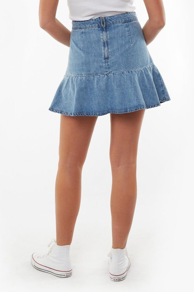 ALL ABOUT EVE Havana Flippy Denim Skirt Bleach Back