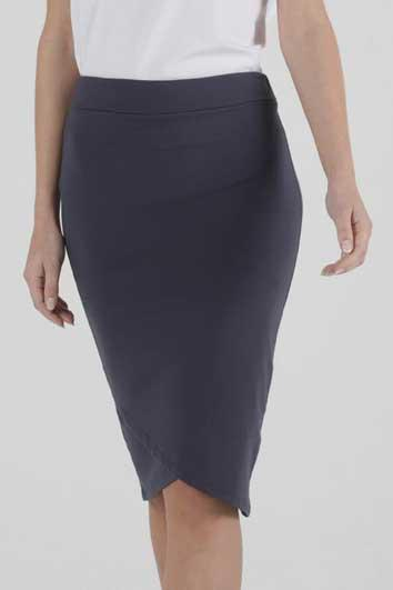 BETTY BASICS Siri Skirt Blue Stone Front Close Up
