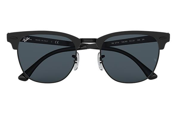 Rayban Clubmaster Metal Matte Black On Black Blue Front