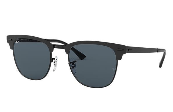 Rayban Clubmaster Metal Matte Black On Black Blue Front Angle