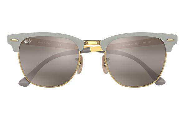 Rayban Clubmaster Metal Matte Grey On Arista Grey Front