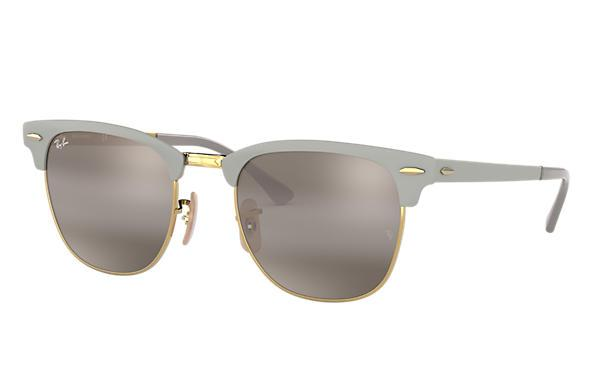 Rayban Clubmaster Metal Matte Grey On Arista Grey Front Angle