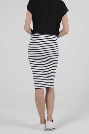 BETTY BASICS Siri Skirt White Black Stripe Back