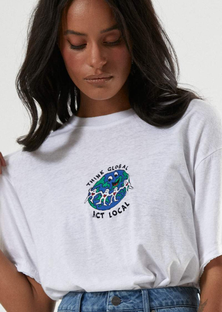 AFENDS Think Global Hemp Os Tee White Print Detail