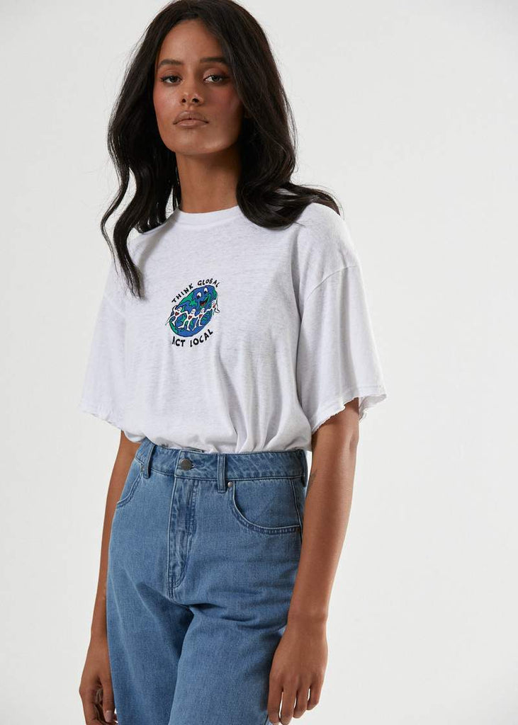 AFENDS Think Global Hemp Os Tee White Front