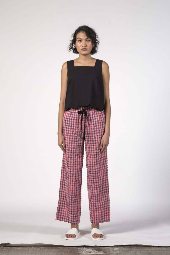 THING THING Beach Pants Pink Checks Front