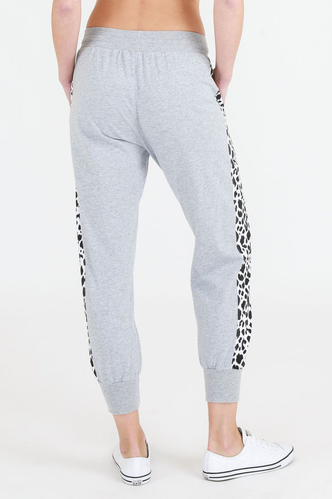 SAT AND SUN Leopard Panel Jogger Grey Marle Back