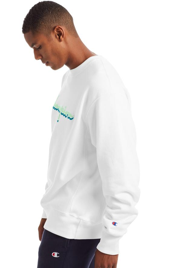CHAMPION Reverse Weave Script Hood White Side