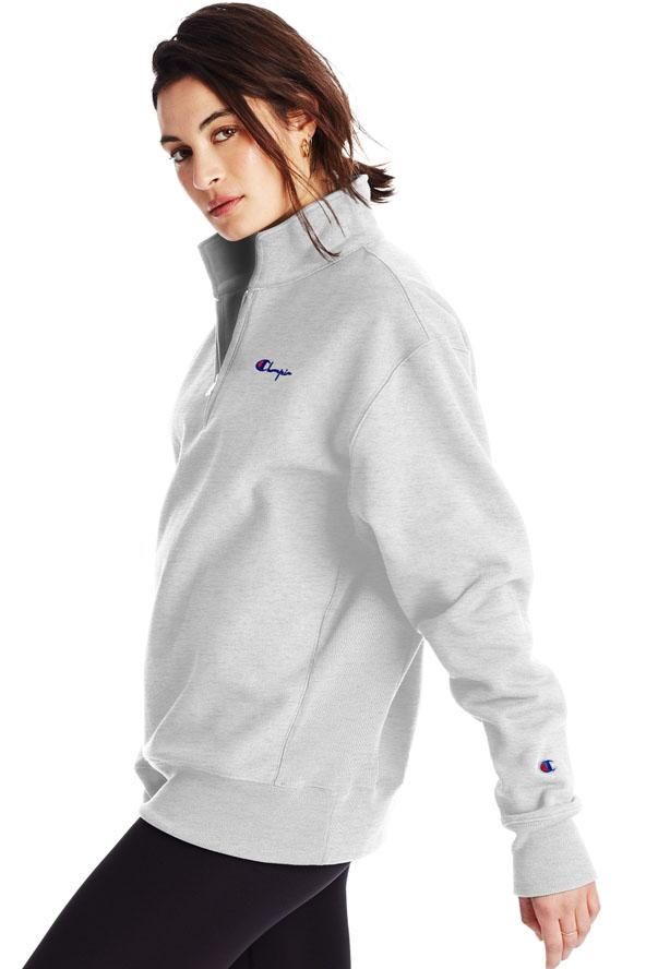CHAMPION Reverse Weave Small C Os 1 4 Zip Silver Grey Side