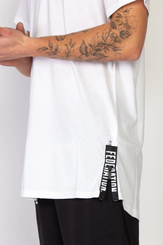 FEDERATION Blocks Look Tee White Zip Detail