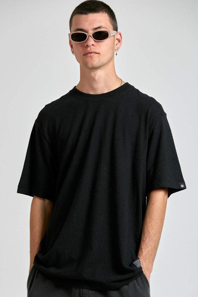 AFENDS Classic Hemp Retro Fit Tee Black Front