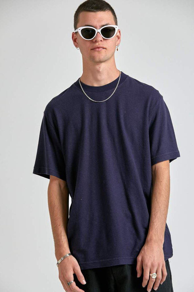 AFENDS Classic Hemp Retro Fit Tee Navy Front