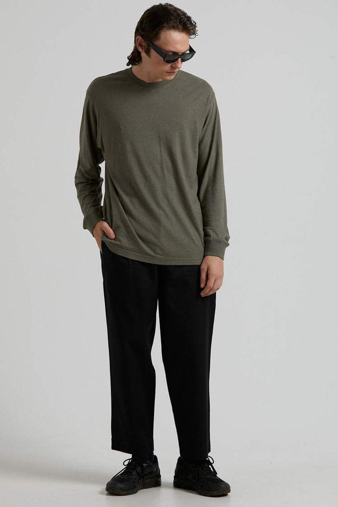 AFENDS Essential Hemp Retro Fit Longsleeve Military Front Full