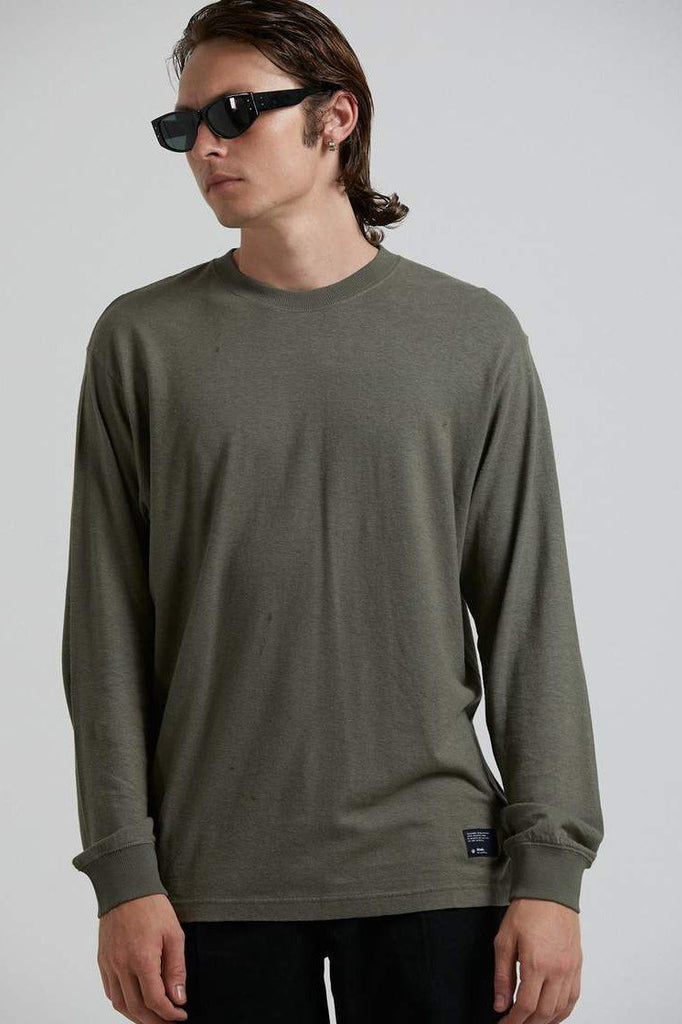 AFENDS Essential Hemp Retro Fit Longsleeve Military Front