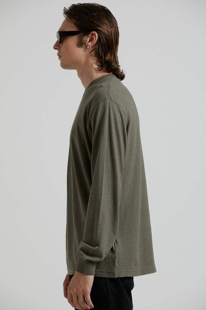 AFENDS Essential Hemp Retro Fit Longsleeve Military side