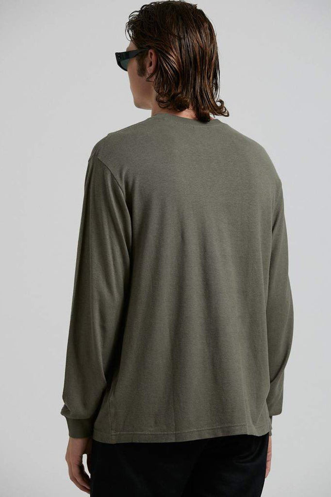 AFENDS Essential Hemp Retro Fit Longsleeve Military Back