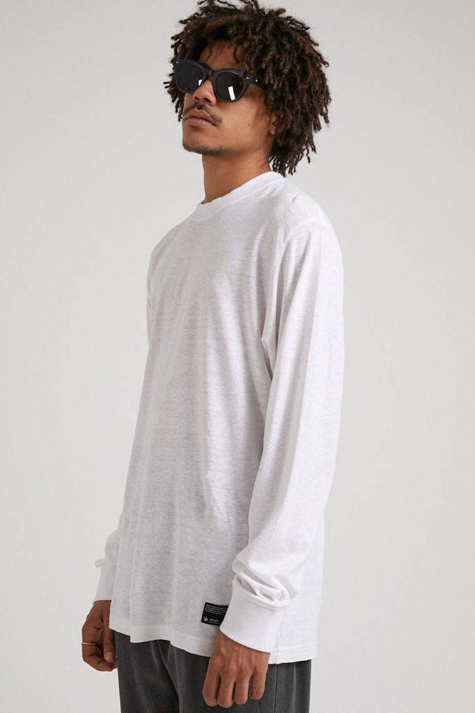 AFENDS Essential Hemp Retro Ls Tee White Side Angle
