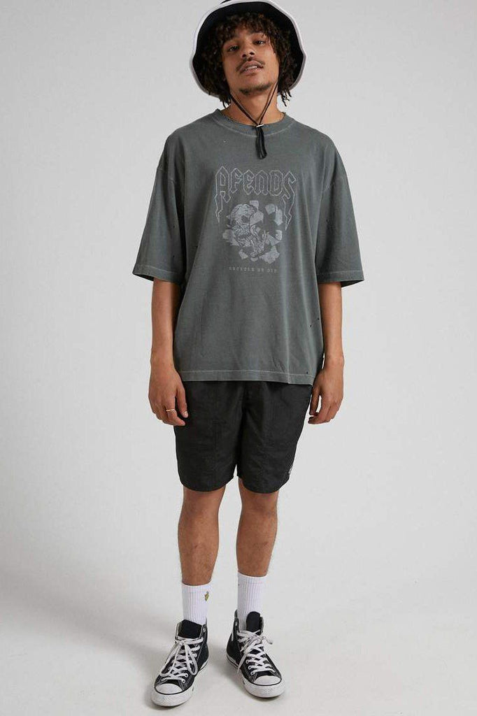 AFENDS Recycle Or Die Os Tee Gunmetal Front Full