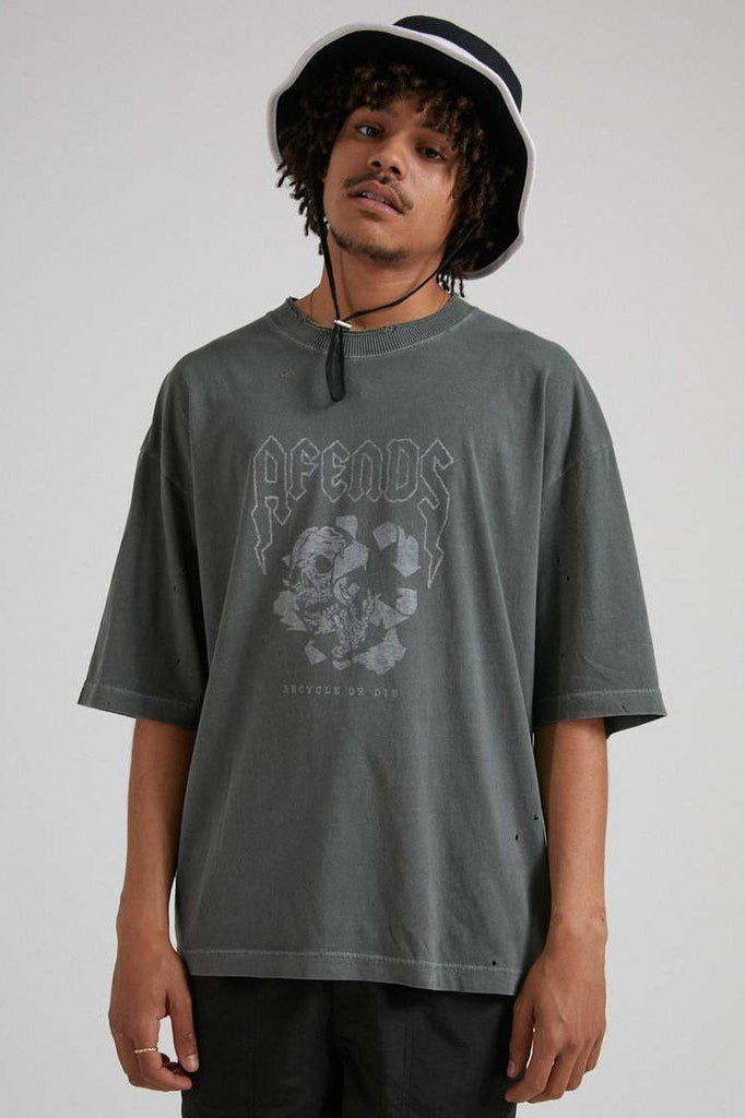 AFENDS Recycle Or Die Os Tee Gunmetal front