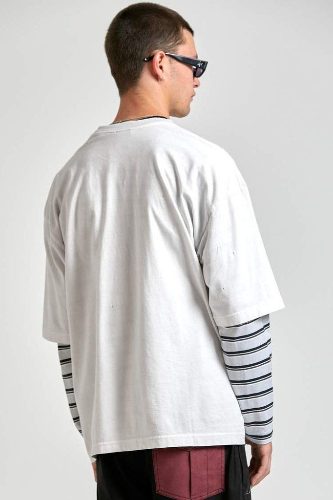 AFENDS Richmond Oversized Tee Blanc Back