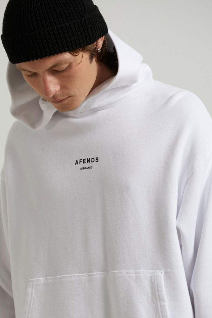 AFENDS Premium Organic Pull On Hood White Close Up