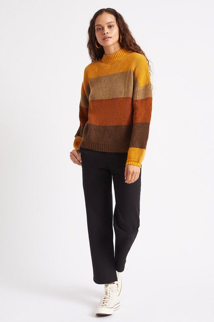 BRIXTON Madero Sweater Honey Gold Front Angle
