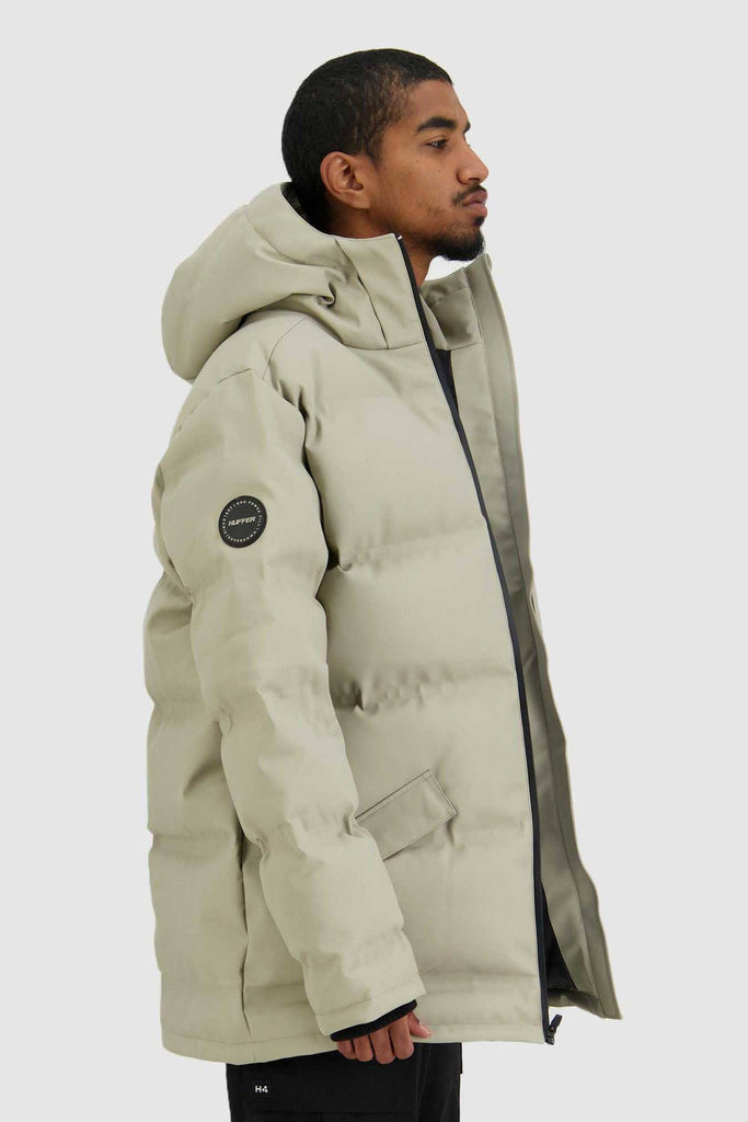HUFFER Mens Oversize Superdown Jacket Sand Side